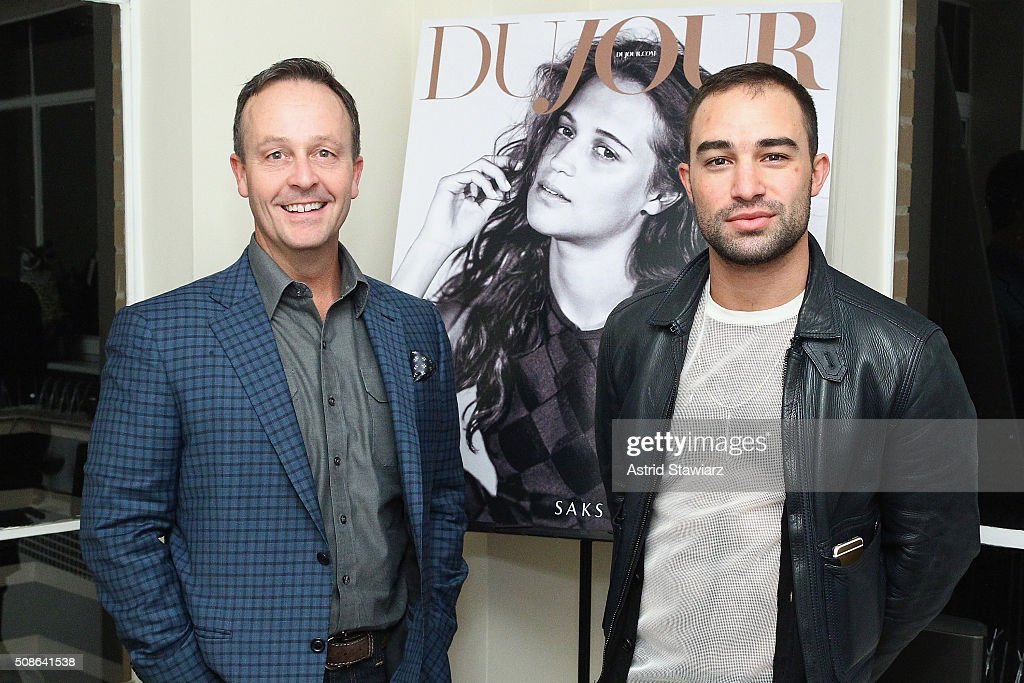 Ted Hogan (L) and Vinny Mondano attend an intimate evening of friends and colleagues at Mr. Colin Dougherty's New York City apartment on February 5, 2016 in New York City.