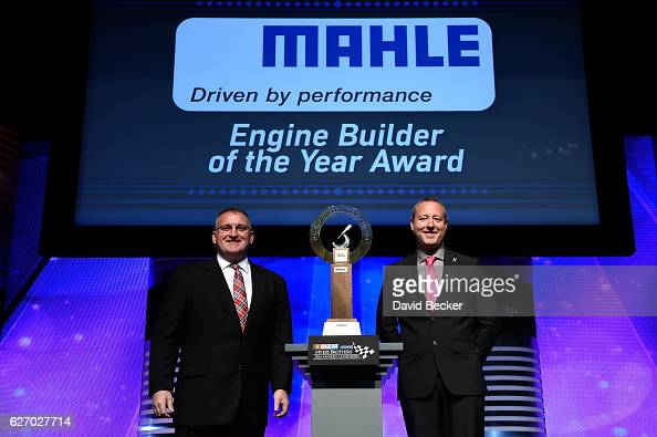 Ted Hughes Head of Marketing North America Mahle and Scott Vester Hendrick Engines Chevrolet pose with the MAHLE Clevite Engine Builder of the Year...