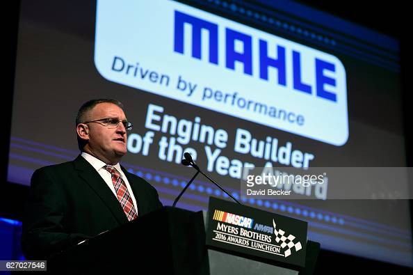 Ted Hughes Head of Marketing North America Mahle speaks prior to presenting the MAHLE Clevite Engine Builder of the Year Award during the NASCAR NMPA...