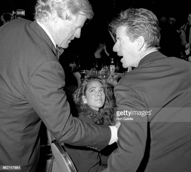 Ted Kennedy Calvin Klein and Kelly Klein attend Simon Wiesenthal Center Honors Gala on October 26 1987 at the Marriott Marquis Hotel in New York City