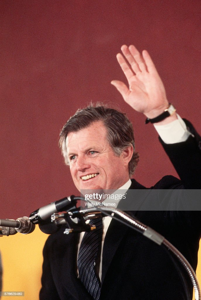 Ted Kennedy campaigns after announcing his candidacy for the 1980 United States presidential election. He would lose the democratic nomination to Jimmy Carter.