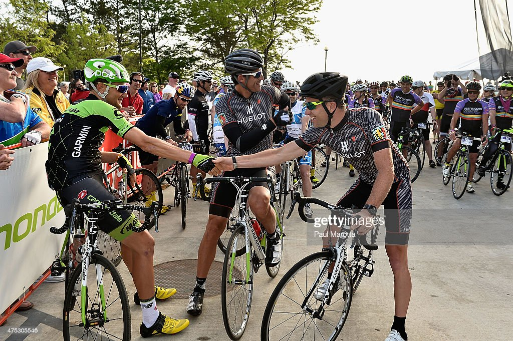 Ted King, <a gi-track='captionPersonalityLinkClicked' href=/galleries/search?phrase=George+Hincapie&family=editorial&specificpeople=534468 ng-click='$event.stopPropagation()'>George Hincapie</a> and <a gi-track='captionPersonalityLinkClicked' href=/galleries/search?phrase=Christian+Vande+Velde&family=editorial&specificpeople=2841213 ng-click='$event.stopPropagation()'>Christian Vande Velde</a> participate in the Best Buddies Challenge: Hyannis Port 2015 on May 30, 2015 in Boston, Massachusetts.