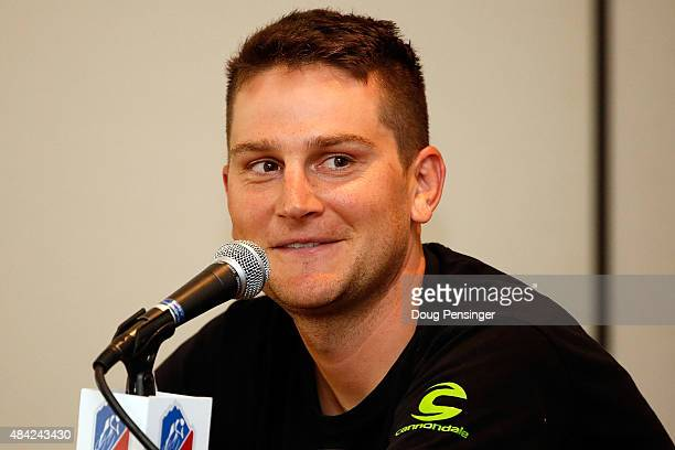 Ted King of United States riding for CannondaleGarmin addresses the media during a press conference ahead of the 2015 USA Pro Challenge on August 16...