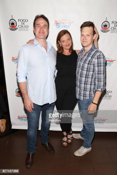 Ted Koch Orlagh Cassidy and Sam Lilja attend the OffBroadway opening night party for 'SUMMER SHORTS 2017' at Fogo de Chao Churrascaria on August 7...