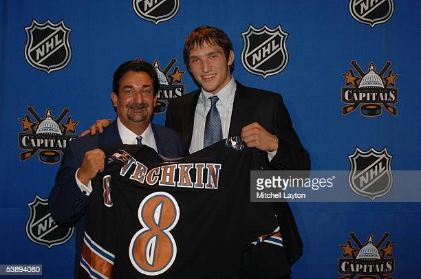 Ted Leonsis owner of the Washington Capitals introduces Alexander Ovechkin the Washington Capitals 2004 first round draft pick at a press conference...