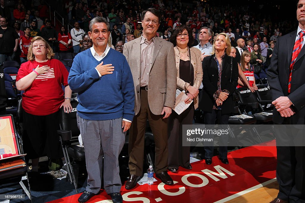 <a gi-track='captionPersonalityLinkClicked' href=/galleries/search?phrase=Ted+Leonsis&family=editorial&specificpeople=2248725 ng-click='$event.stopPropagation()'>Ted Leonsis</a> the owner of the Washington Wizards stands for the National Anthem before the game against the Indiana Pacers at the Verizon Center on April 6, 2013 in Washington, DC.