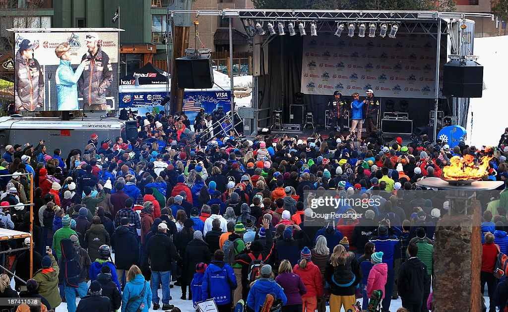<a gi-track='captionPersonalityLinkClicked' href=/galleries/search?phrase=Ted+Ligety&family=editorial&specificpeople=580537 ng-click='$event.stopPropagation()'>Ted Ligety</a> and <a gi-track='captionPersonalityLinkClicked' href=/galleries/search?phrase=Bode+Miller&family=editorial&specificpeople=194742 ng-click='$event.stopPropagation()'>Bode Miller</a> take the stage as fans gather during the U.S. Alpine Ski Team Announcement and pep rally at Copper Mountain on November 8, 2013 in Copper Mountain, Colorado.