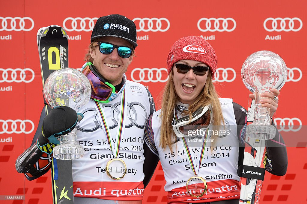Ted Ligety and Mikaela Shiffrin of The USA poses with the crystal globes for the overall title in the Audi FIS Alpine Skiing World Cup Finals Giant Slalom and slalom on March 15, 2014 in Lenzerheide, Switzerland.