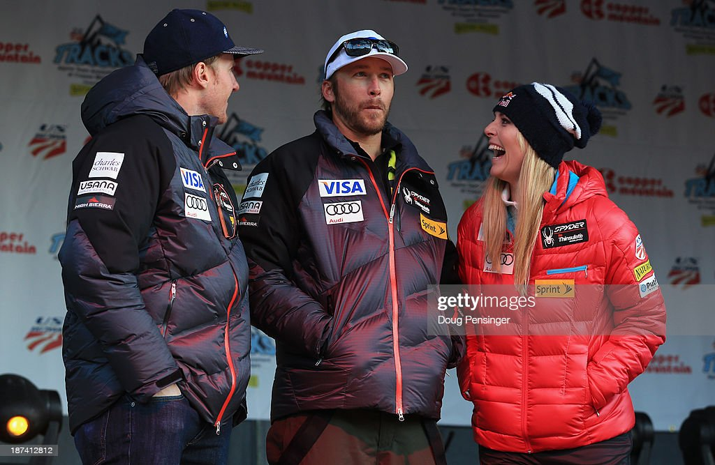 <a gi-track='captionPersonalityLinkClicked' href=/galleries/search?phrase=Ted+Ligety&family=editorial&specificpeople=580537 ng-click='$event.stopPropagation()'>Ted Ligety</a>, <a gi-track='captionPersonalityLinkClicked' href=/galleries/search?phrase=Bode+Miller&family=editorial&specificpeople=194742 ng-click='$event.stopPropagation()'>Bode Miller</a> and <a gi-track='captionPersonalityLinkClicked' href=/galleries/search?phrase=Lindsey+Vonn&family=editorial&specificpeople=4668171 ng-click='$event.stopPropagation()'>Lindsey Vonn</a> take the stage during the U.S. Alpine Ski Team Announcement and pep rally at Copper Mountain on November 8, 2013 in Copper Mountain, Colorado.
