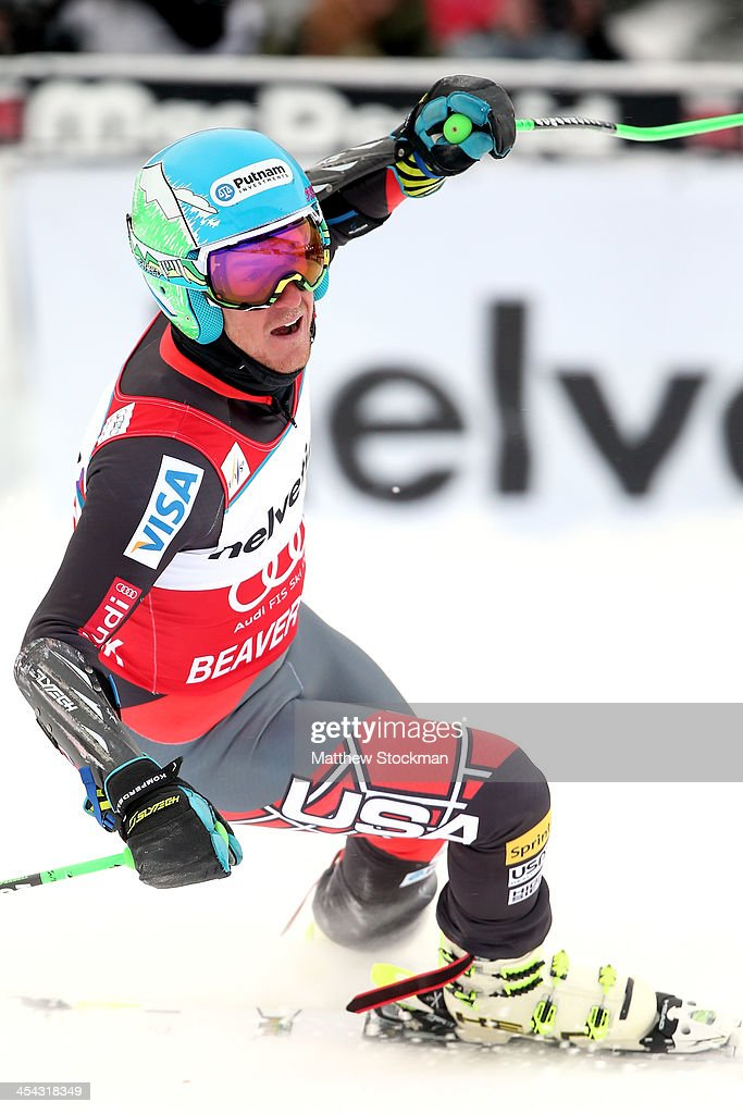 <a gi-track='captionPersonalityLinkClicked' href=/galleries/search?phrase=Ted+Ligety&family=editorial&specificpeople=580537 ng-click='$event.stopPropagation()'>Ted Ligety</a> #6 celebrates after crossing the finish line to win the men's Giant Slalom race at the Birds of Prey Audi FIS Ski World Cup on December 8, 2013 in Beaver Creek, Colorado.