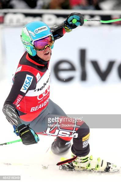 Ted Ligety celebrates after crossing the finish line to win the men's Giant Slalom race at the Birds of Prey Audi FIS Ski World Cup on December 8...