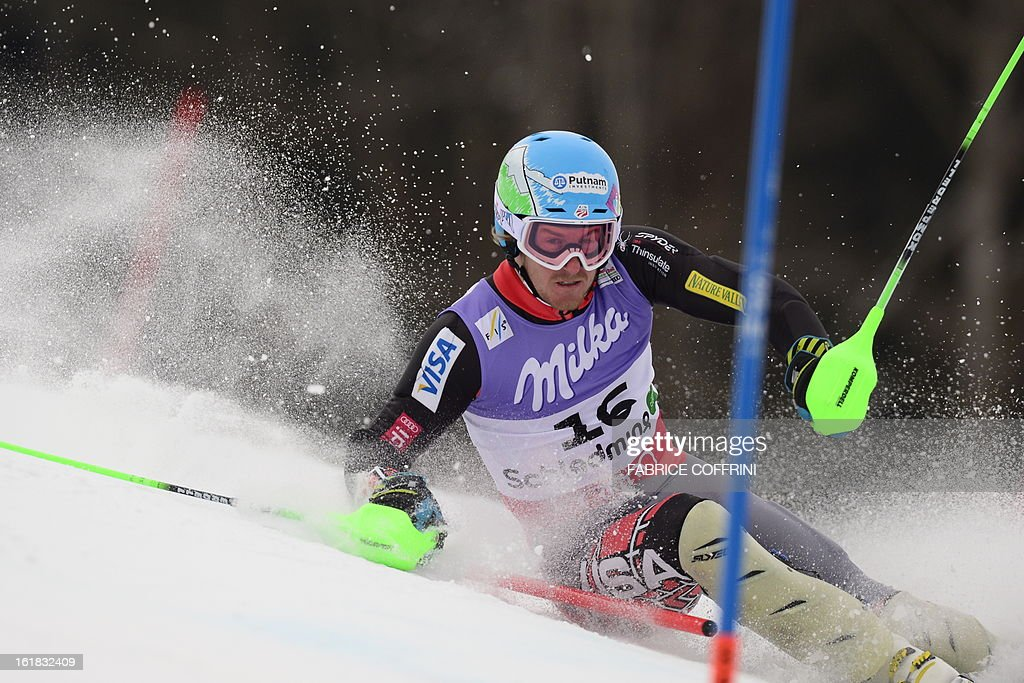 US Ted Ligety misses a gate during the first run of the men's slalom at the 2013 Ski World Championships in Schladming, Austria on February 17, 2013.