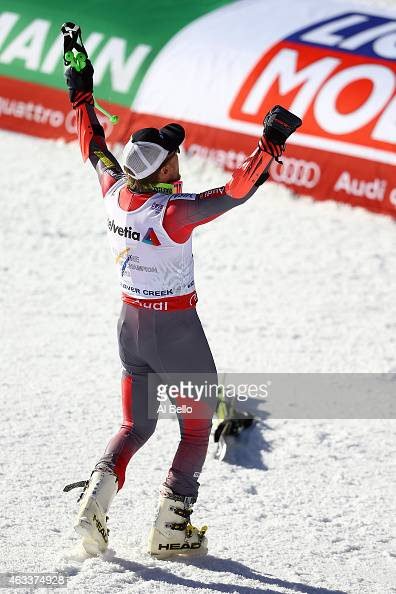 Ted Ligety of the United States celebrates during the Men's Giant Slalom on Day 12 of the 2015 FIS Alpine World Ski Championships on February 13 2015...