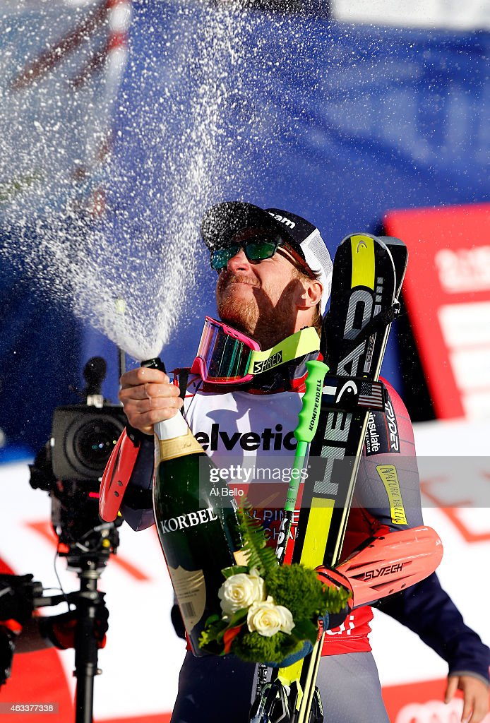 <a gi-track='captionPersonalityLinkClicked' href=/galleries/search?phrase=Ted+Ligety&family=editorial&specificpeople=580537 ng-click='$event.stopPropagation()'>Ted Ligety</a> of the United States celebrates with champagne after winning the Men's Giant Slalom on Day 12 of the 2015 FIS Alpine World Ski Championships on February 13, 2015 in Beaver Creek, Colorado.