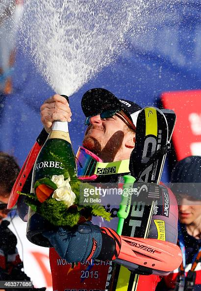 Ted Ligety of the United States celebrates with champagne after winning the Men's Giant Slalom on Day 12 of the 2015 FIS Alpine World Ski...