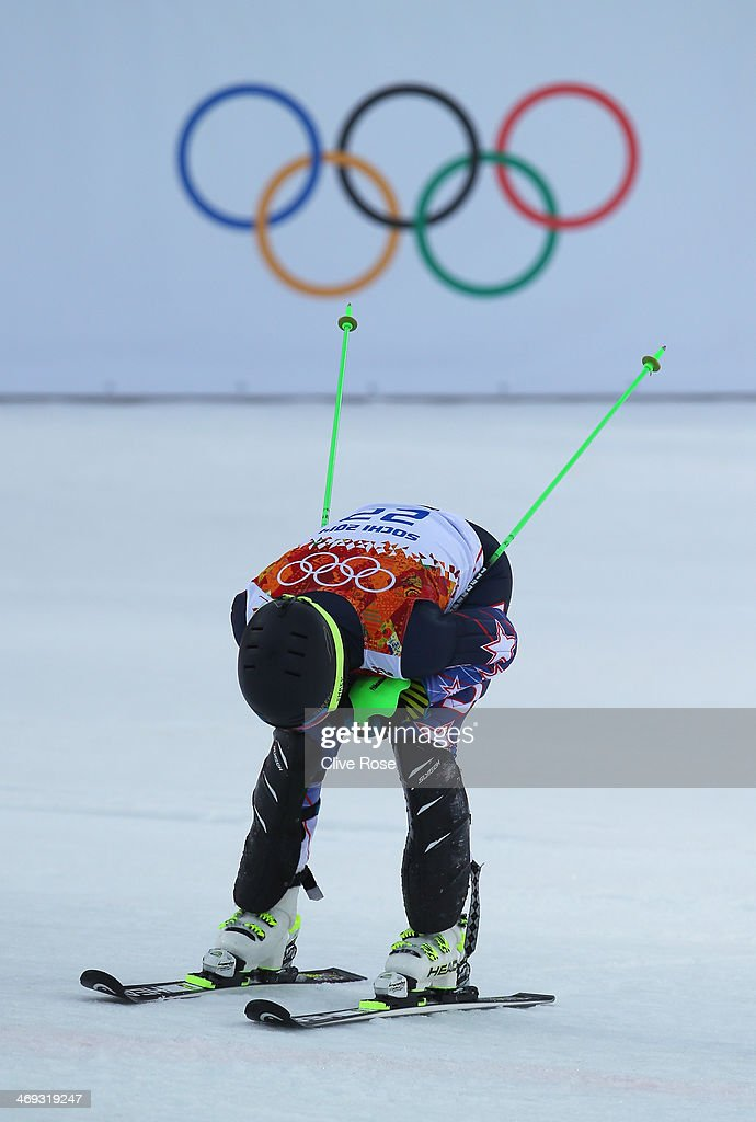 <a gi-track='captionPersonalityLinkClicked' href=/galleries/search?phrase=Ted+Ligety&family=editorial&specificpeople=580537 ng-click='$event.stopPropagation()'>Ted Ligety</a> of the United States competes during the Alpine Skiing Men's Super Combined Downhill on day 7 of the Sochi 2014 Winter Olympics at Rosa Khutor Alpine Center on February 14, 2014 in Sochi, Russia.