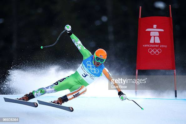 Ted Ligety of the United States competes during the Alpine Skiing Men's Super Combined Downhill on day 10 of the Vancouver 2010 Winter Olympics at...