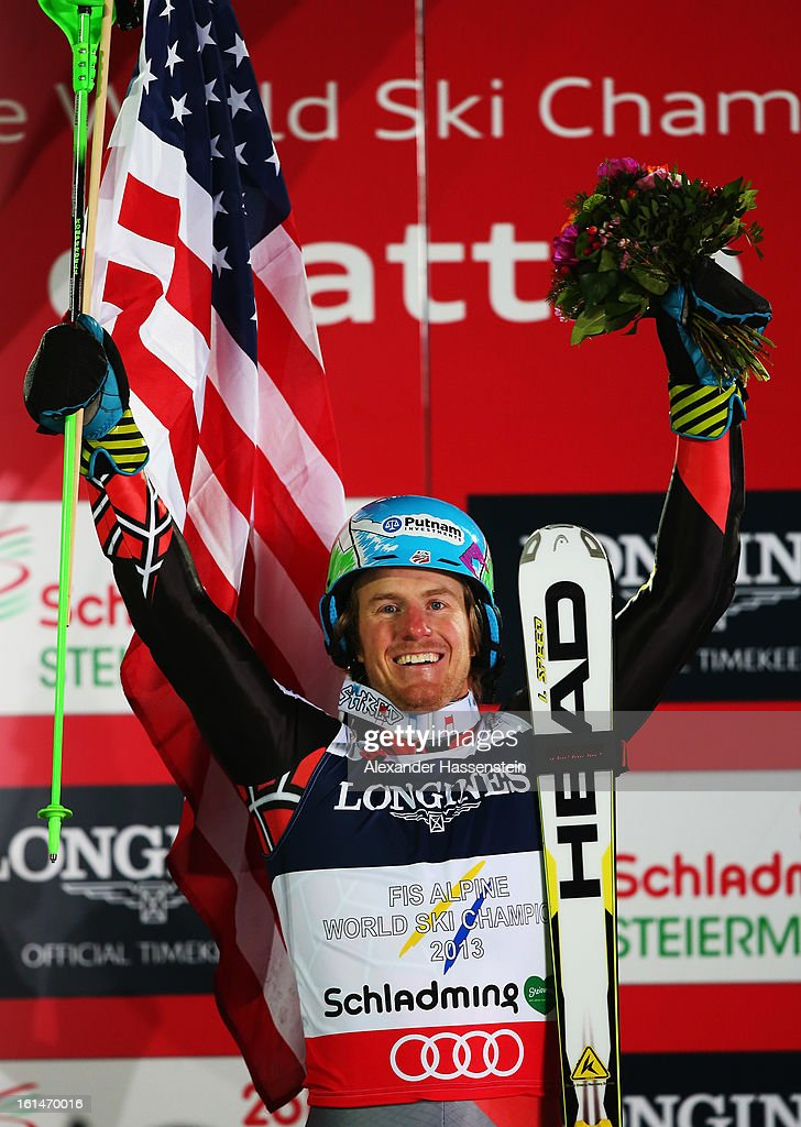 <a gi-track='captionPersonalityLinkClicked' href=/galleries/search?phrase=Ted+Ligety&family=editorial&specificpeople=580537 ng-click='$event.stopPropagation()'>Ted Ligety</a> of the United States of America celebrates at the flower ceremony after winning the Men's Super Combined during the Alpine FIS Ski World Championships on February 11, 2013 in Schladming, Austria.