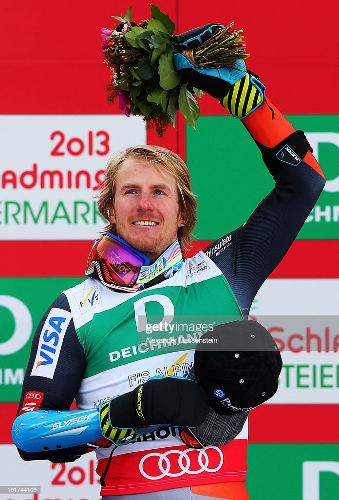 <a gi-track='captionPersonalityLinkClicked' href=/galleries/search?phrase=Ted+Ligety&family=editorial&specificpeople=580537 ng-click='$event.stopPropagation()'>Ted Ligety</a> of the United States of America celebrates at the flower ceremony after winning the Men's Giant Slalom during the Alpine FIS Ski World Championships on February 15, 2013 in Schladming, Austria.