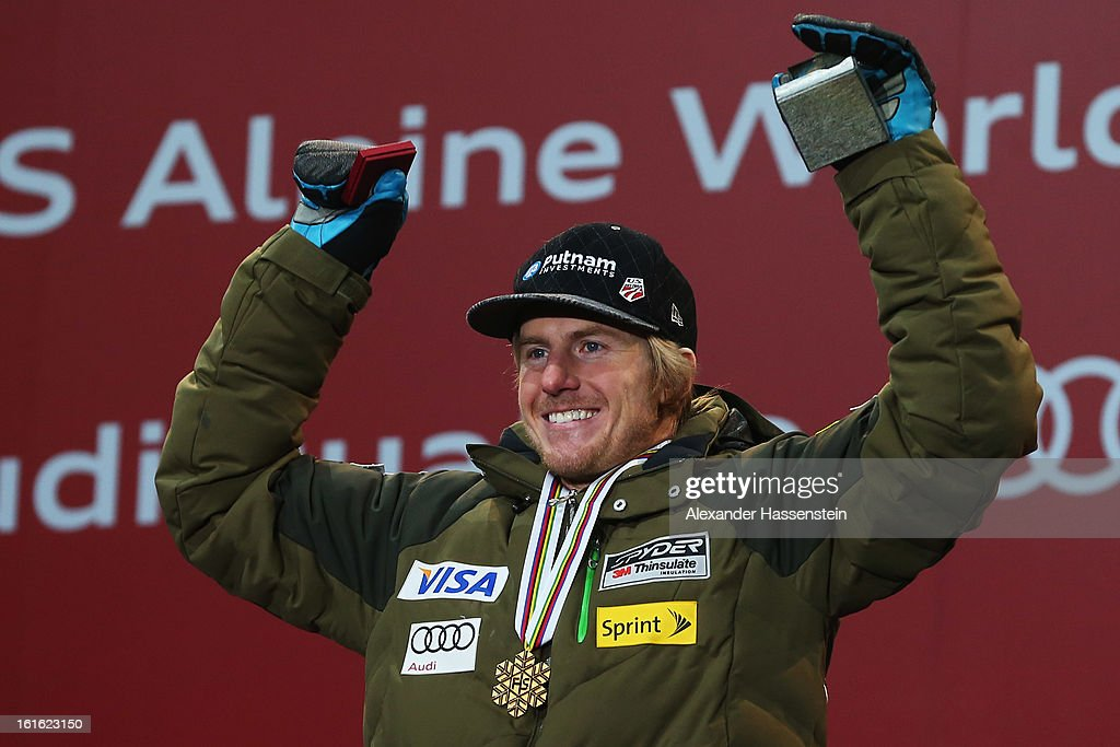Ted Ligety of the United States of America celebrates at the medal ceremony with his gold medal for winning the Men's Super Combined event during the Alpine FIS Ski World Championships on February 13, 2013 in Schladming, Austria. The race was held on February 11.