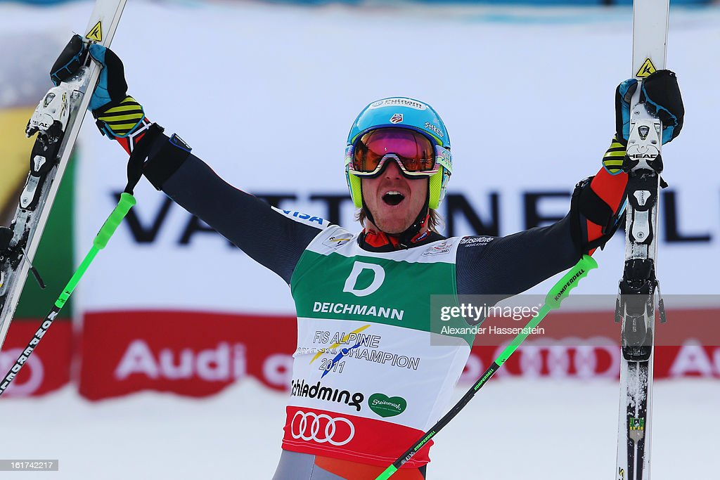 Ted Ligety of the United States of America celebrates in the finish area after winning the Men's Giant Slalom during the Alpine FIS Ski World Championships on February 15, 2013 in Schladming, Austria.