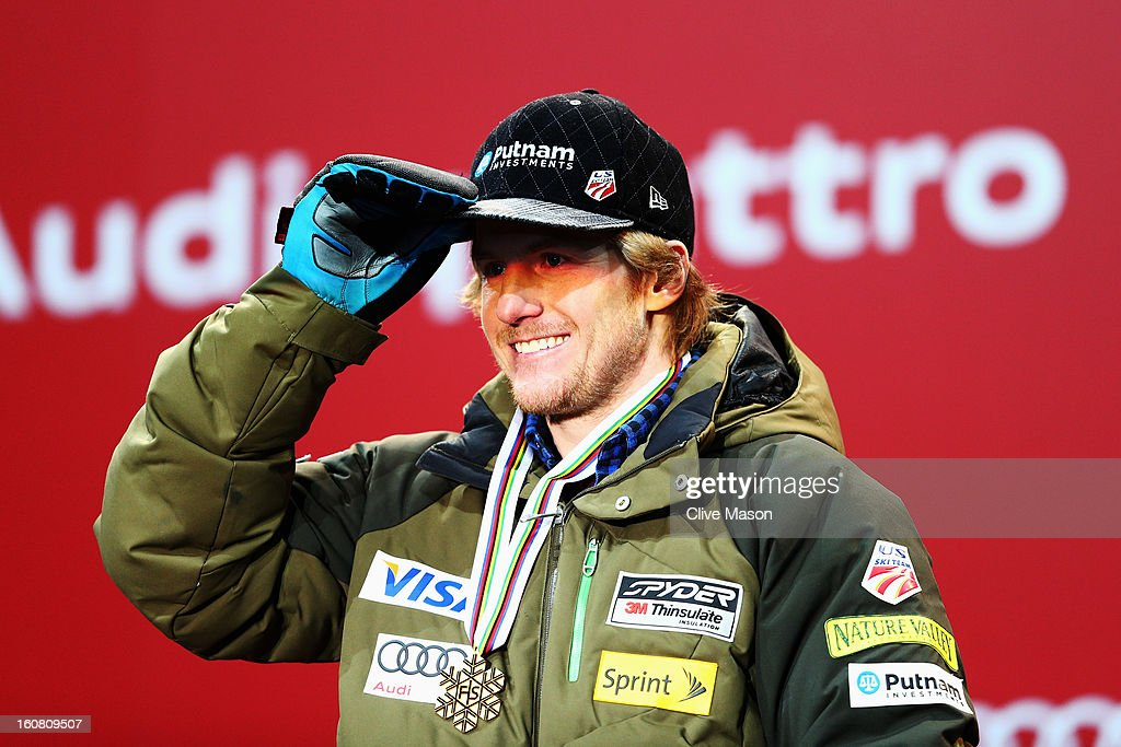<a gi-track='captionPersonalityLinkClicked' href=/galleries/search?phrase=Ted+Ligety&family=editorial&specificpeople=580537 ng-click='$event.stopPropagation()'>Ted Ligety</a> of the United States of America celebrates with his gold at the medal ceremony after winning the Men's Super G event during the Alpine FIS Ski World Championships on February 6, 2013 in Schladming, Austria.