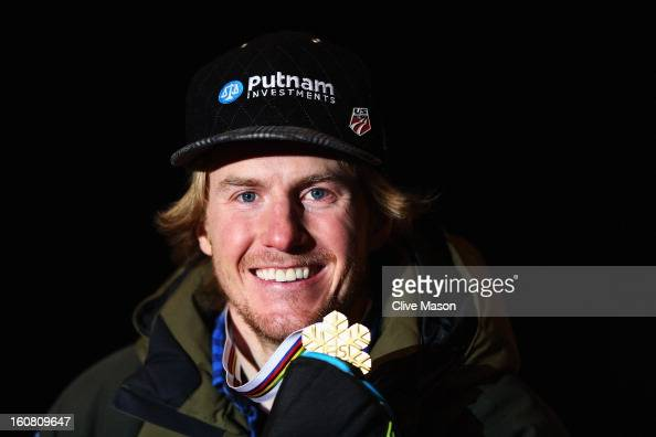 Ted Ligety of the United States of America celebrates with his gold at the medal ceremony after winning the Men's Super G event during the Alpine FIS...