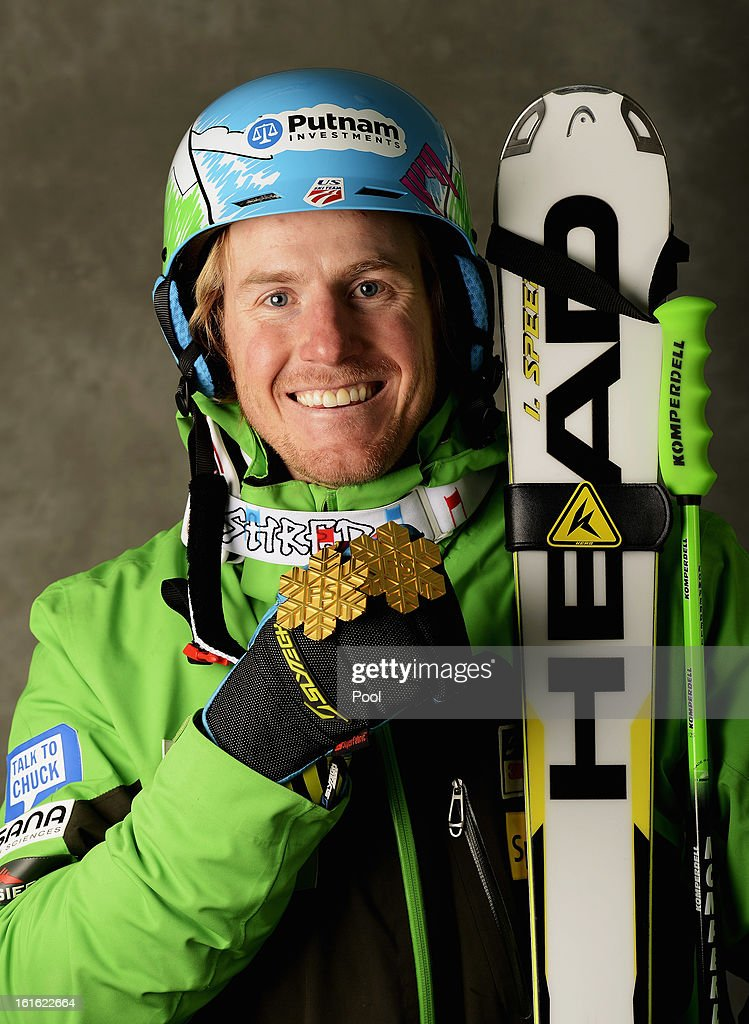 <a gi-track='captionPersonalityLinkClicked' href=/galleries/search?phrase=Ted+Ligety&family=editorial&specificpeople=580537 ng-click='$event.stopPropagation()'>Ted Ligety</a> of the United States of America celebrates with his gold medals for winning the Men's Super Combined and the Men's Super G events during the Alpine FIS Ski World Championships on February 13, 2013 in Schladming, Austria.