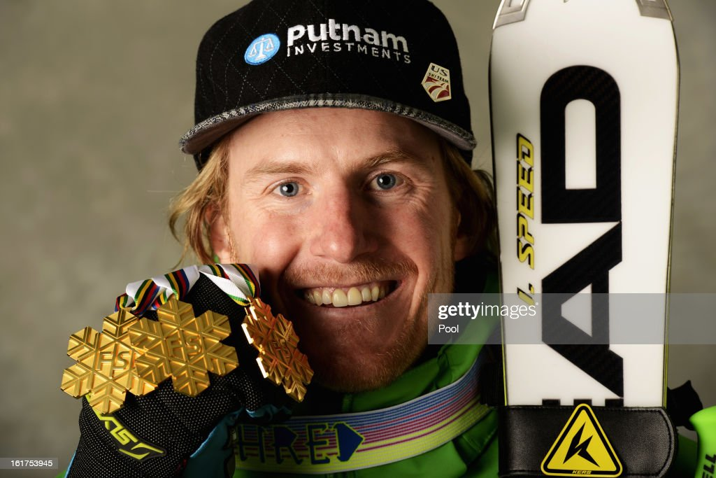 <a gi-track='captionPersonalityLinkClicked' href=/galleries/search?phrase=Ted+Ligety&family=editorial&specificpeople=580537 ng-click='$event.stopPropagation()'>Ted Ligety</a> of the United States of America celebrates with his gold medals for winning the Men's Giant Slalom, Men's Super Combined and Men's Super G events following the Men's Giant Slalom during the Alpine FIS Ski World Championships on February 15, 2013 in Schladming, Austria.