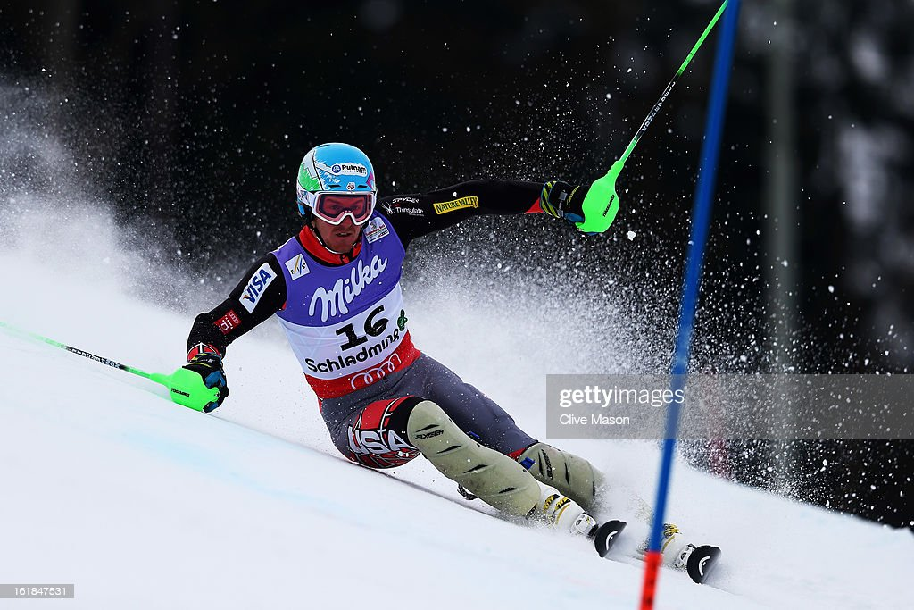 Ted Ligety of the United States of America gets out of shape and posts a DNF while skiing in the Men's Slalom during the Alpine FIS Ski World Championships on February 17, 2013 in Schladming, Austria.