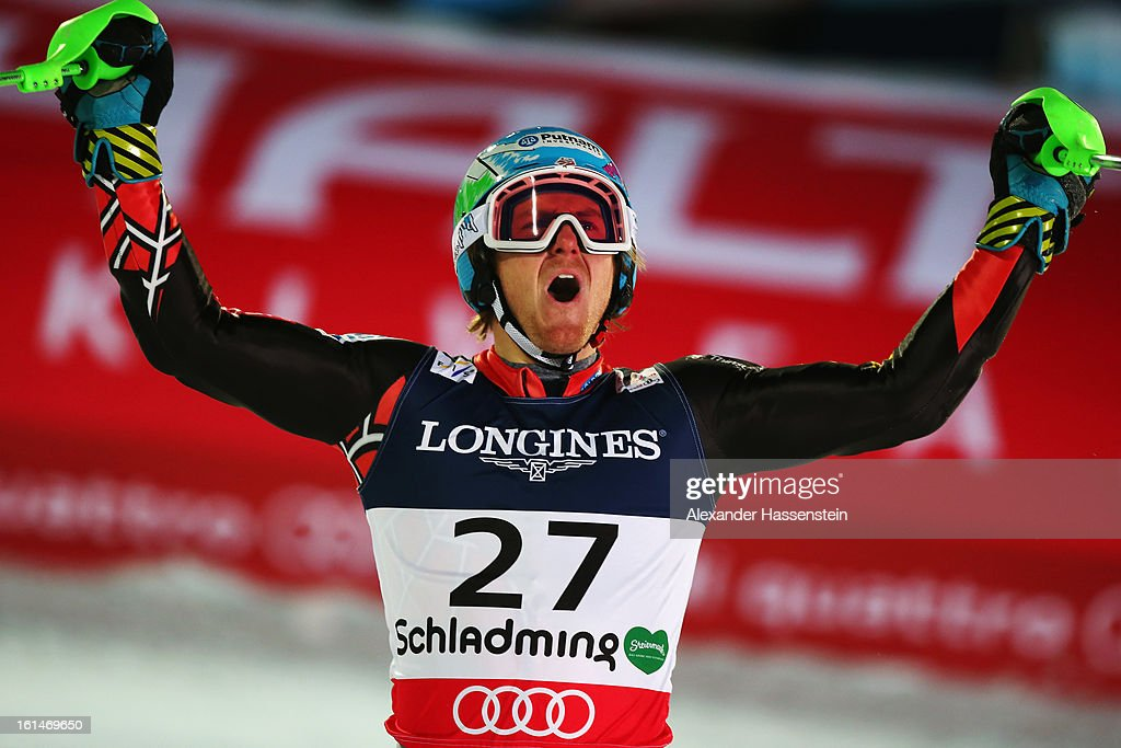 <a gi-track='captionPersonalityLinkClicked' href=/galleries/search?phrase=Ted+Ligety&family=editorial&specificpeople=580537 ng-click='$event.stopPropagation()'>Ted Ligety</a> of the United States of America reacts in the finish area after skiing to victory in the Men's Super Combined during the Alpine FIS Ski World Championships on February 11, 2013 in Schladming, Austria.