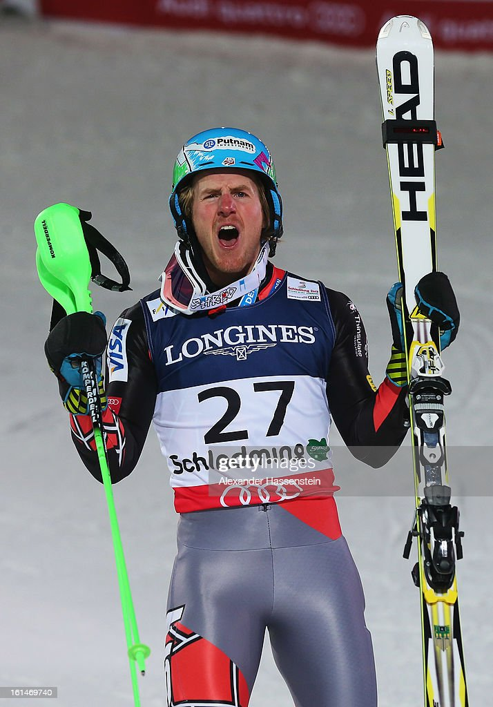 Ted Ligety of the United States of America reacts in the finish area after skiing to victory in the Men's Super Combined during the Alpine FIS Ski World Championships on February 11, 2013 in Schladming, Austria.
