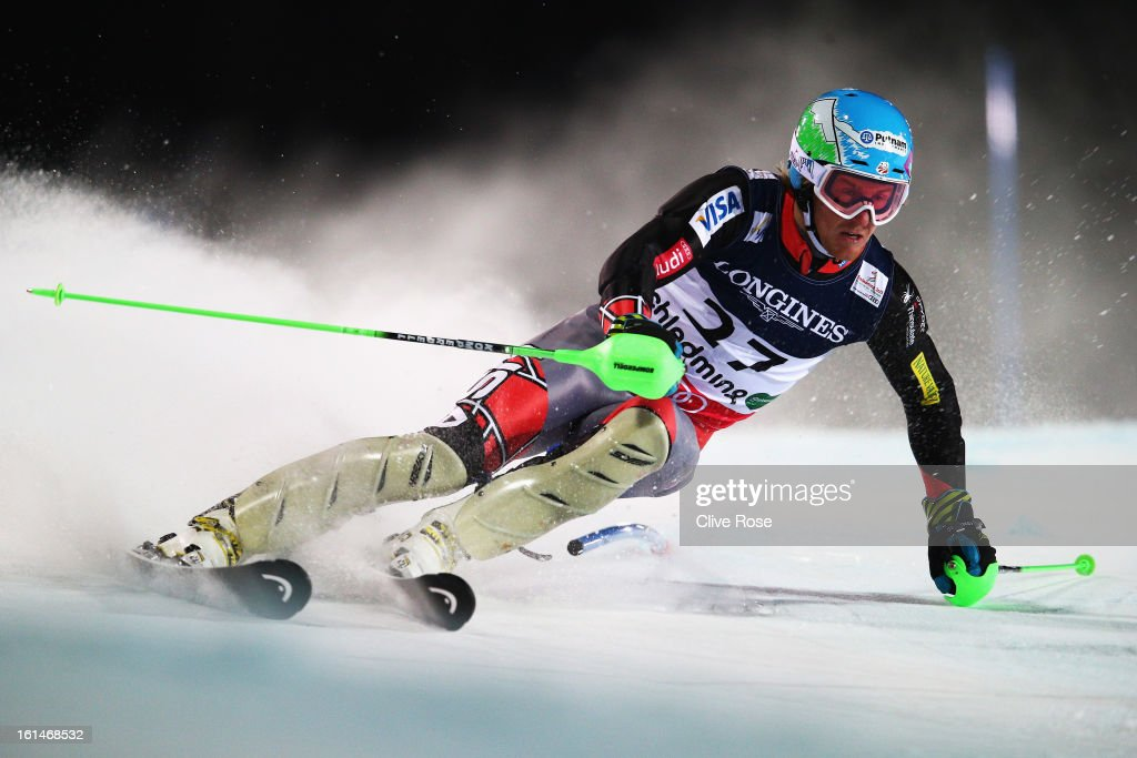 Ted Ligety of the United States of America skis in the slalom section on his way to victory in the Men's Super Combined during the Alpine FIS Ski World Championships on February 11, 2013 in Schladming, Austria.