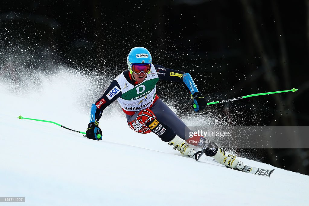 Ted Ligety of the United States of America skis on his way to winning the Men's Giant Slalom during the Alpine FIS Ski World Championships on February 15, 2013 in Schladming, Austria.