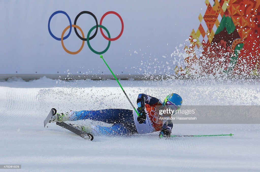 <a gi-track='captionPersonalityLinkClicked' href=/galleries/search?phrase=Ted+Ligety&family=editorial&specificpeople=580537 ng-click='$event.stopPropagation()'>Ted Ligety</a> of the United States reacts during the Alpine Skiing Men's Giant Slalom on day 12 of the Sochi 2014 Winter Olympics at Rosa Khutor Alpine Center on February 19, 2014 in Sochi, Russia.