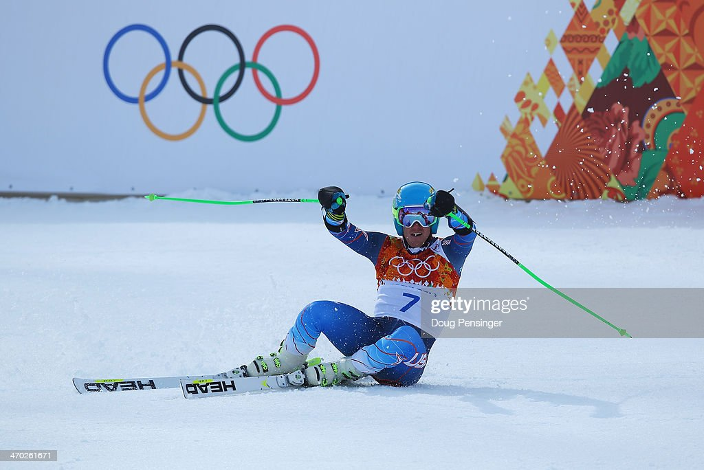 Ted Ligety of the United States reacts during the Alpine Skiing Men's Giant Slalom on day 12 of the Sochi 2014 Winter Olympics at Rosa Khutor Alpine Center on February 19, 2014 in Sochi, Russia.