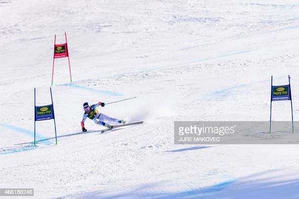 Ted Ligety of the US competes during his second run in the FIS World Cup Giant Slalom race in Kranjska Gora Slovenia on March 14 2015 AFP PHOTO /...