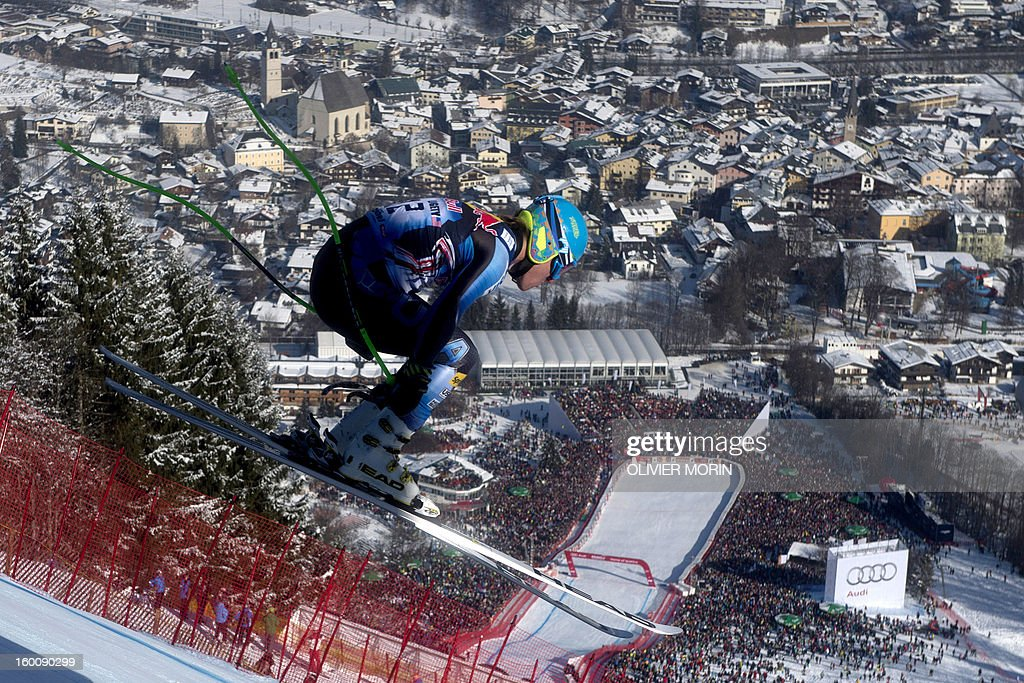 Ted Ligety of the US competes during the men's World Cup Downhill, on January 26, 2013 in Kitzbuehel, Austrian Alps.Italy's Dominik Paris won the race ahead Canda's Erik Guay and Austria's Hannes Reichelt . AFP PHOTO / OLIVIER MORIN