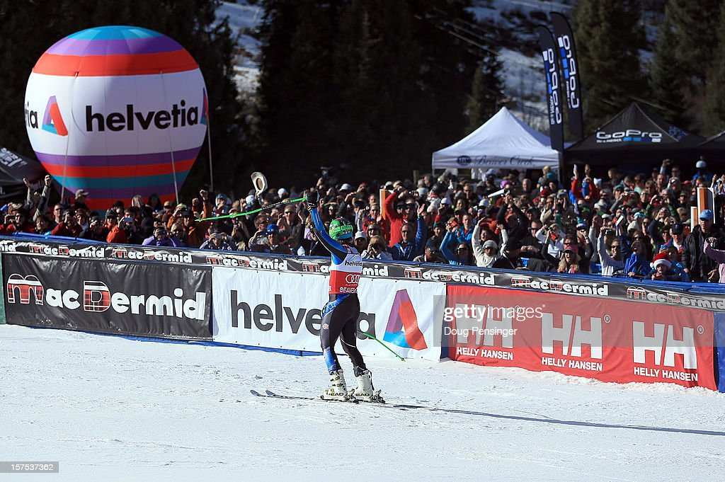 Ted Ligety of the USA acknowledges the the crowd as he celebrates his win in the men's Giant Slalom at the Audi FIS World Cup on December 2, 2012 in Beaver Creek, Colorado.