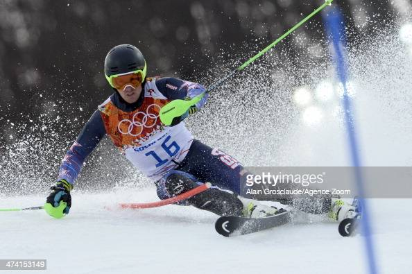 Ted Ligety of the USA competes during the Alpine Skiing Men's Slalom at the Sochi 2014 Winter Olympic Games at Rosa Khutor Alpine Centre on February...