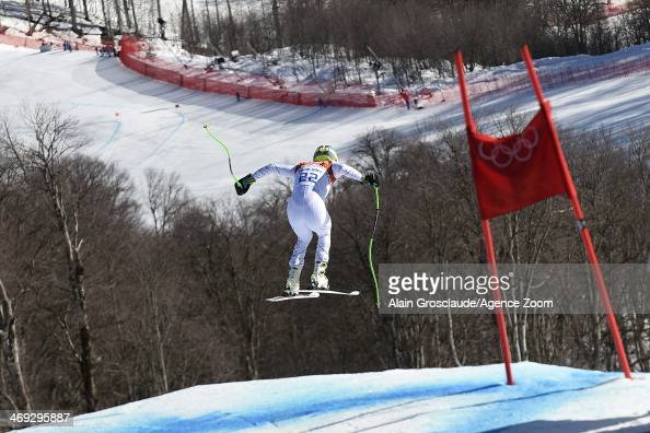 Ted Ligety of the USA competes during the Alpine Skiing Men's Super Combined at the Sochi 2014 Winter Olympic Games at Rosa Khutor Alpine Centre on...