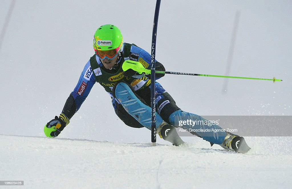 Ted Ligety of the USA competes during the Audi FIS Alpine Ski World Cup Men's Slalom on November 11, 2012 in Levi, Finland.