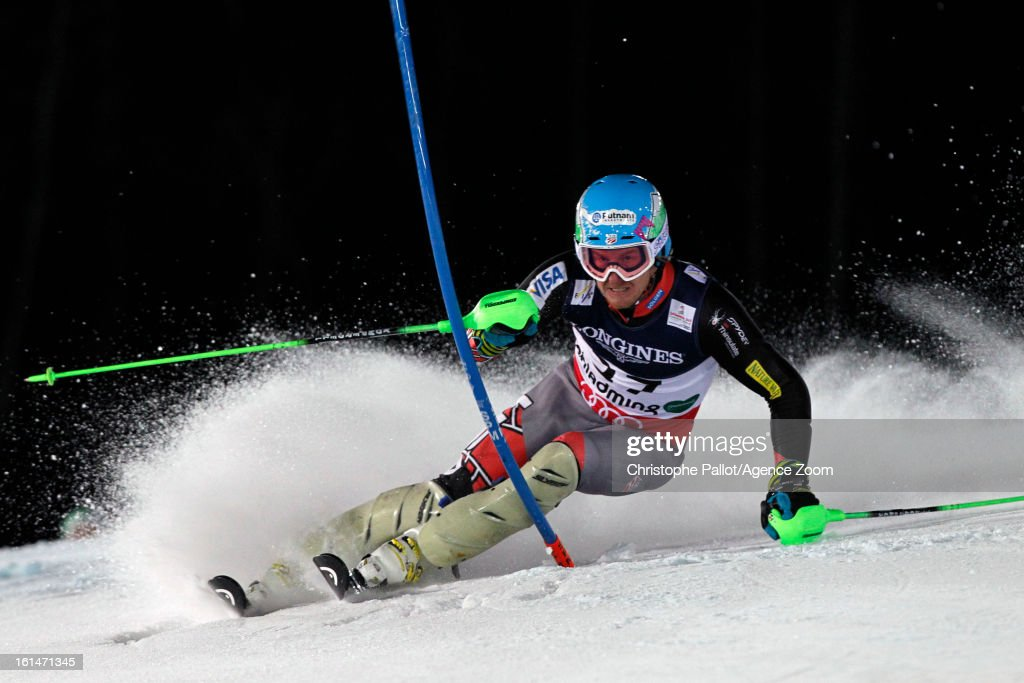 <a gi-track='captionPersonalityLinkClicked' href=/galleries/search?phrase=Ted+Ligety&family=editorial&specificpeople=580537 ng-click='$event.stopPropagation()'>Ted Ligety</a> of the USA competes during the Audi FIS Alpine Ski World Championships Men's Super Combined on February 11, 2013 in Schladming, Austria.