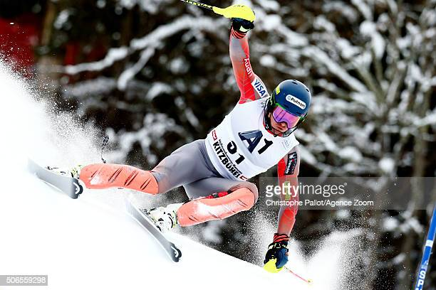 Ted Ligety of the USA competes during the Audi FIS Alpine Ski World Cup Men's Slalom on January 24 2016 in Kitzbuehel Austria