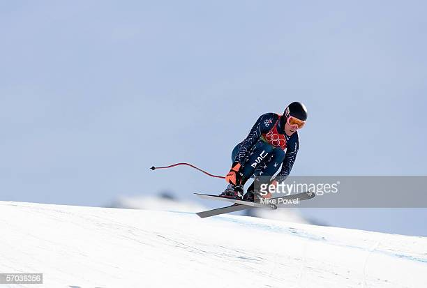 Ted Ligety of the USA competes in Men's Combined Downhill final on his way to a Gold medal during Day 4 of the Turin 2006 Winter Olympic Games on...