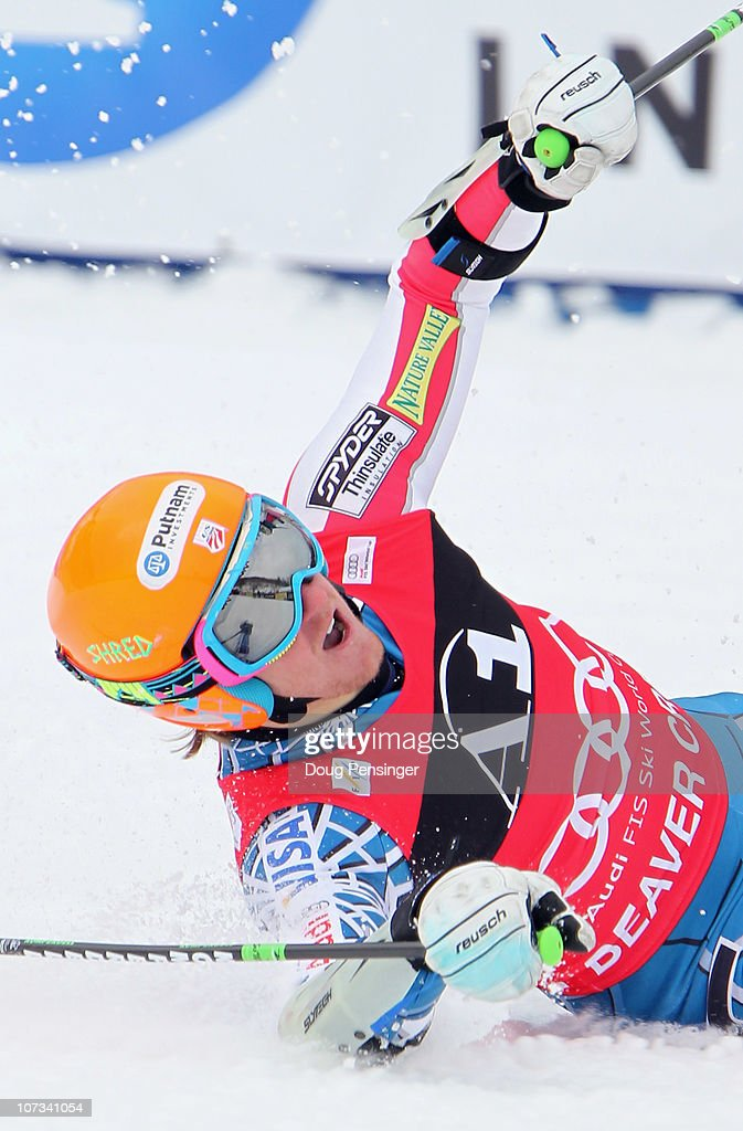 <a gi-track='captionPersonalityLinkClicked' href=/galleries/search?phrase=Ted+Ligety&family=editorial&specificpeople=580537 ng-click='$event.stopPropagation()'>Ted Ligety</a> of the USA falls to the snow and reacts after crossing the finish line to win the Men's Giant Slalom at the Audi FIS World Cup Birds of Prey on December 5, 2010 in Beaver Creek, Colorado.