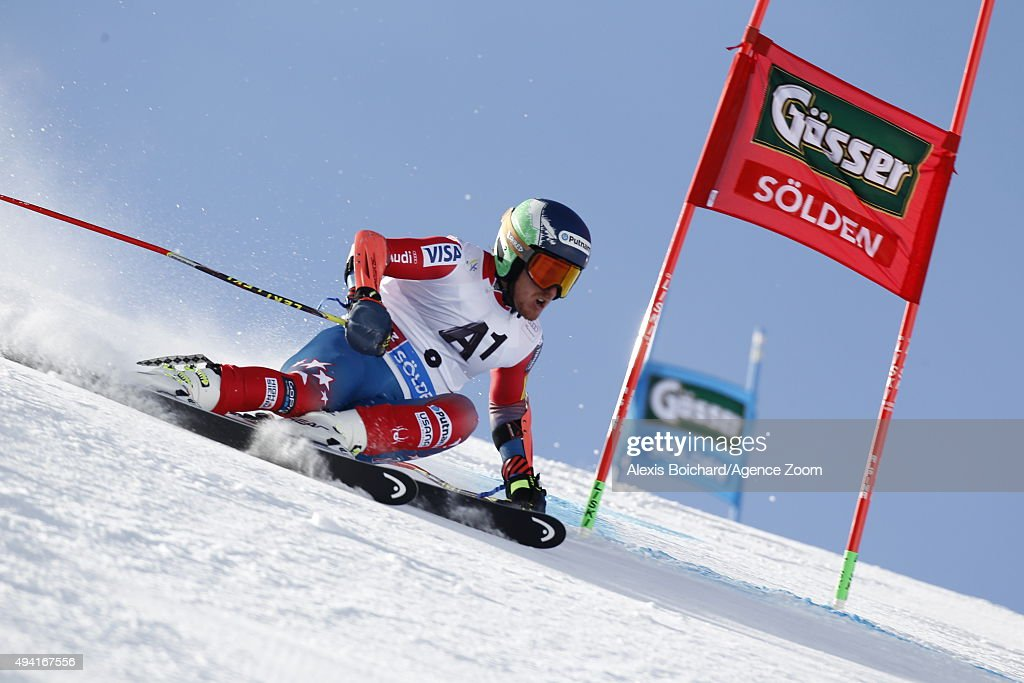 Ted Ligety of the USA in action during the Audi FIS Alpine Ski World Cup Men's Giant Slalom on October 25 2015 in Soelden Austria