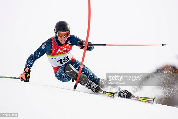 Ted Ligety of the USA on his way to a Gold Medal in the Men's combined slalom final during Day 4 of the Turin 2006 Winter Olympic Games on February...