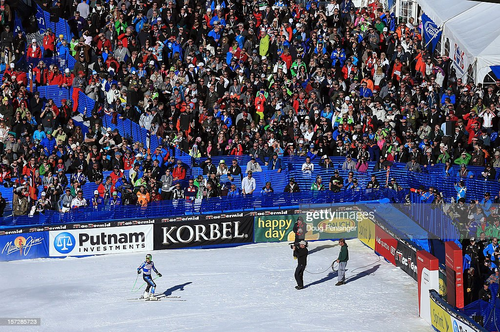 <a gi-track='captionPersonalityLinkClicked' href=/galleries/search?phrase=Ted+Ligety&family=editorial&specificpeople=580537 ng-click='$event.stopPropagation()'>Ted Ligety</a> of the USA skis into the finish area as he placed fourth in the men's Super G on the Birds of Prey at the Audi FIS World Cup on December 1, 2012 in Beaver Creek, Colorado.