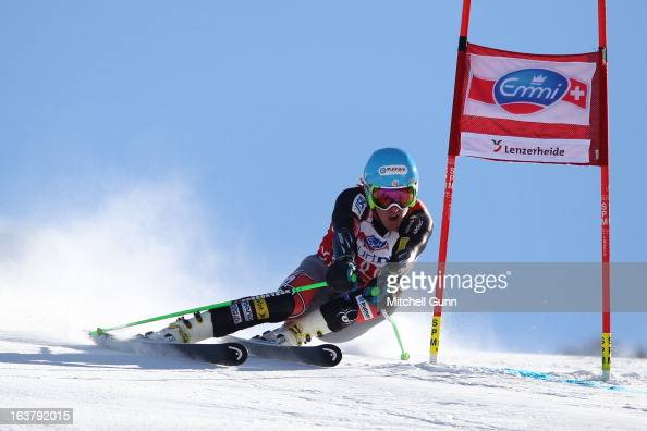 Ted Ligety of the USA speeds down the course whilst competing in the Audi FIS Alpine Skiing World Cup Finals giant slalom race on March 16 2013 in...